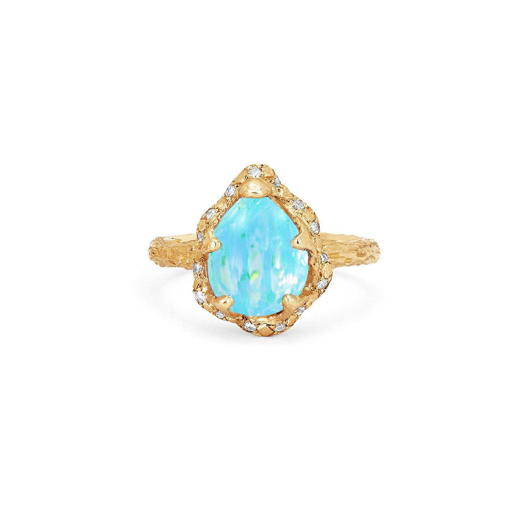 Baby Queen Water Drop Blue Opal Ring with Sprinkled Diamonds Baby Queen Water Drop Blue Opal Ring with Sprinkled Diamonds