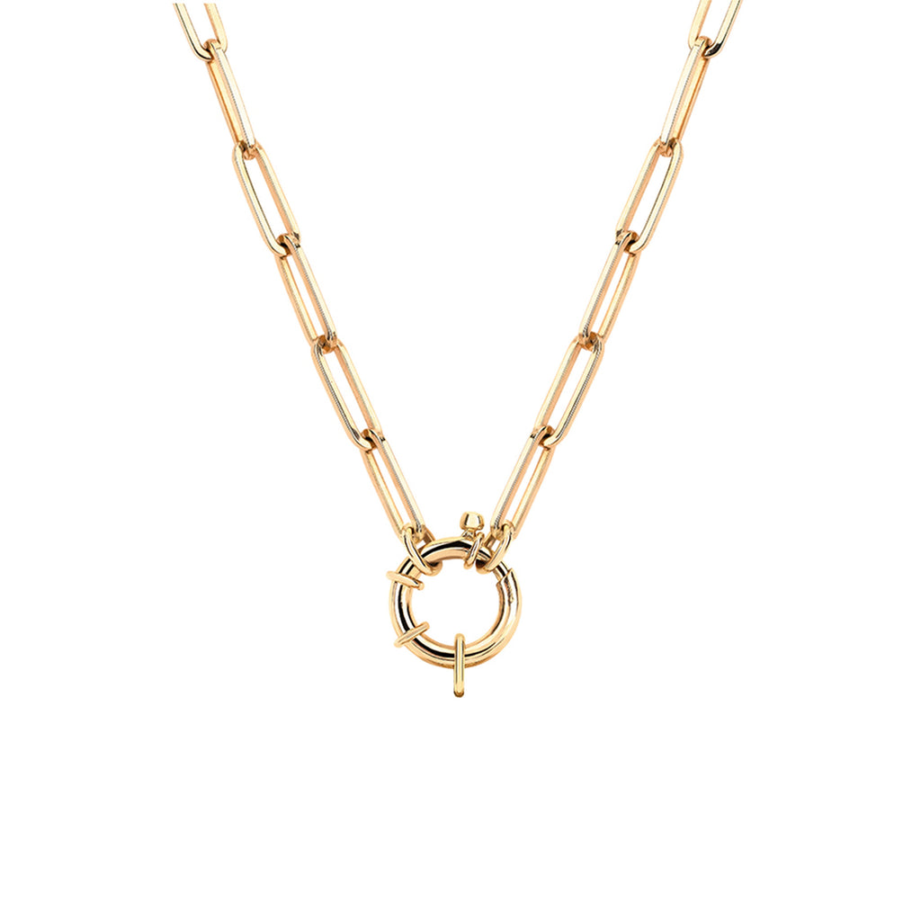 NEW! Alchemy Link Charm Necklace with Hoop Closure Yellow Gold