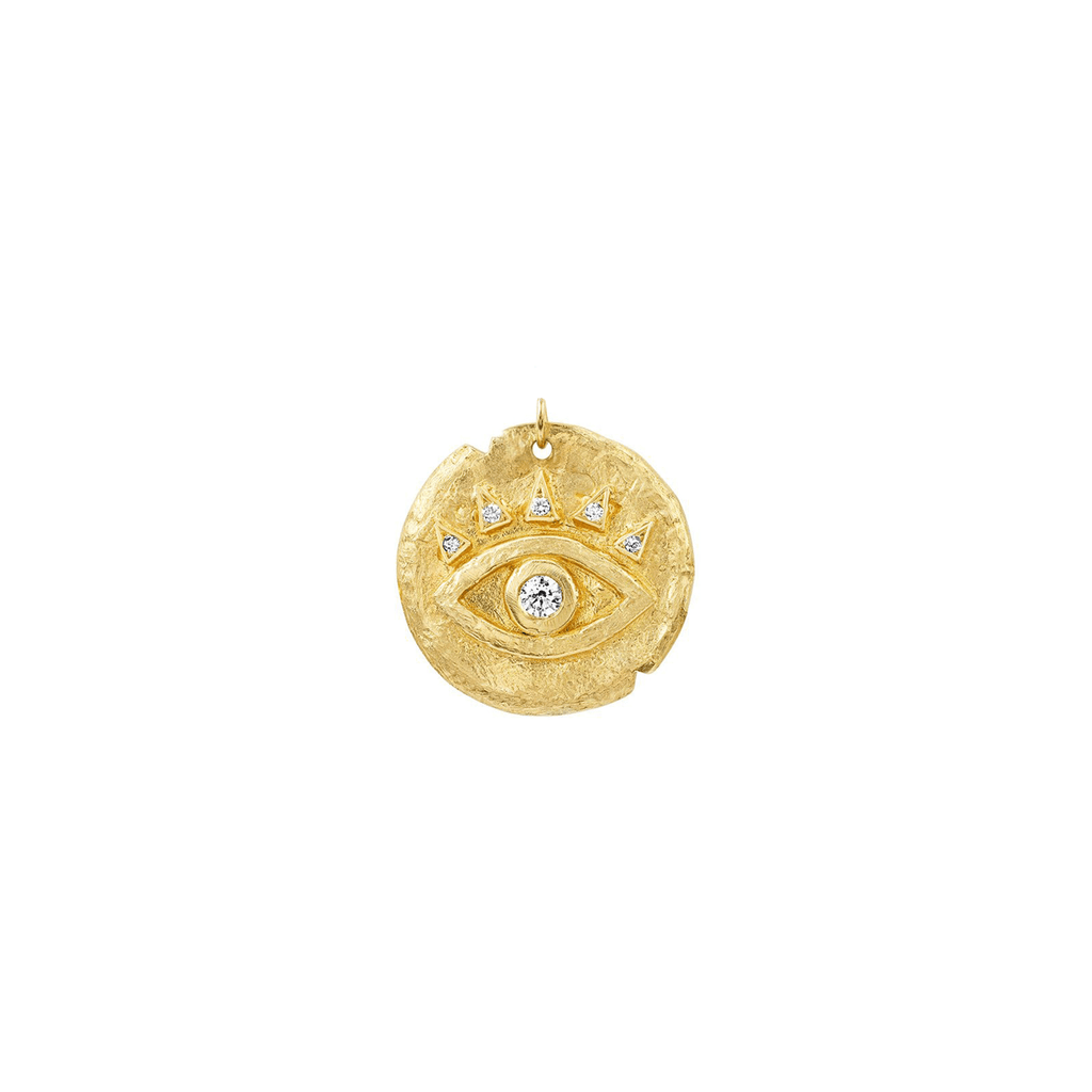 Diamond Baby Eye of Protection Coin Charm Yellow Gold
