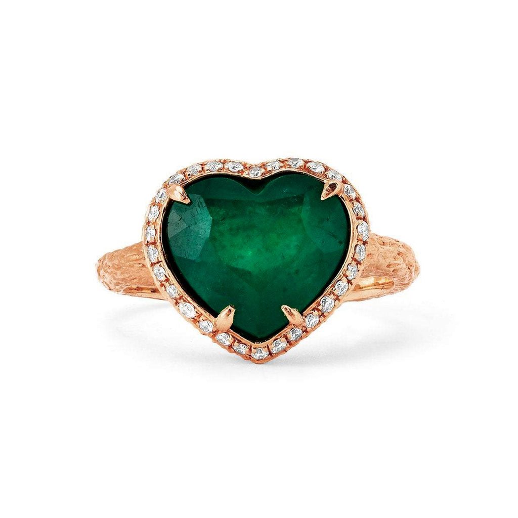 Zambian Emerald Heart Ring with Full Pavé Halo Rose Gold