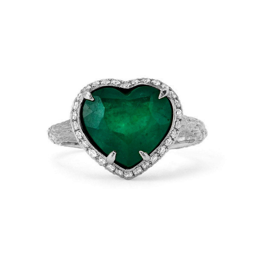 Zambian Emerald Heart Ring with Full Pavé Halo White Gold