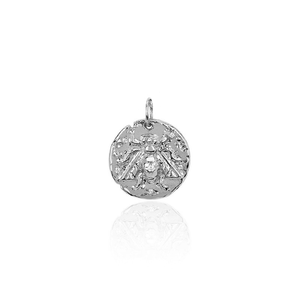 Baby Bee Coin Charm White Gold