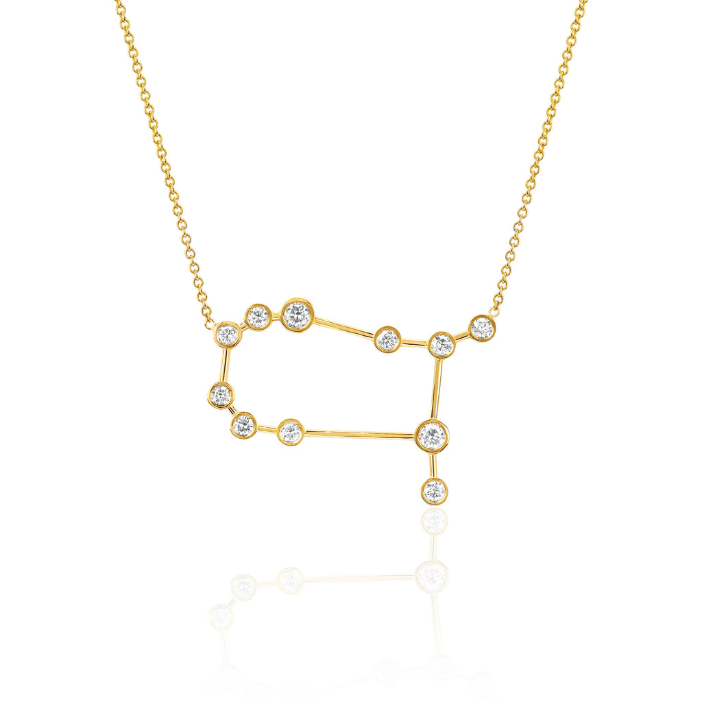 Gemini Constellation Necklace Yellow Gold