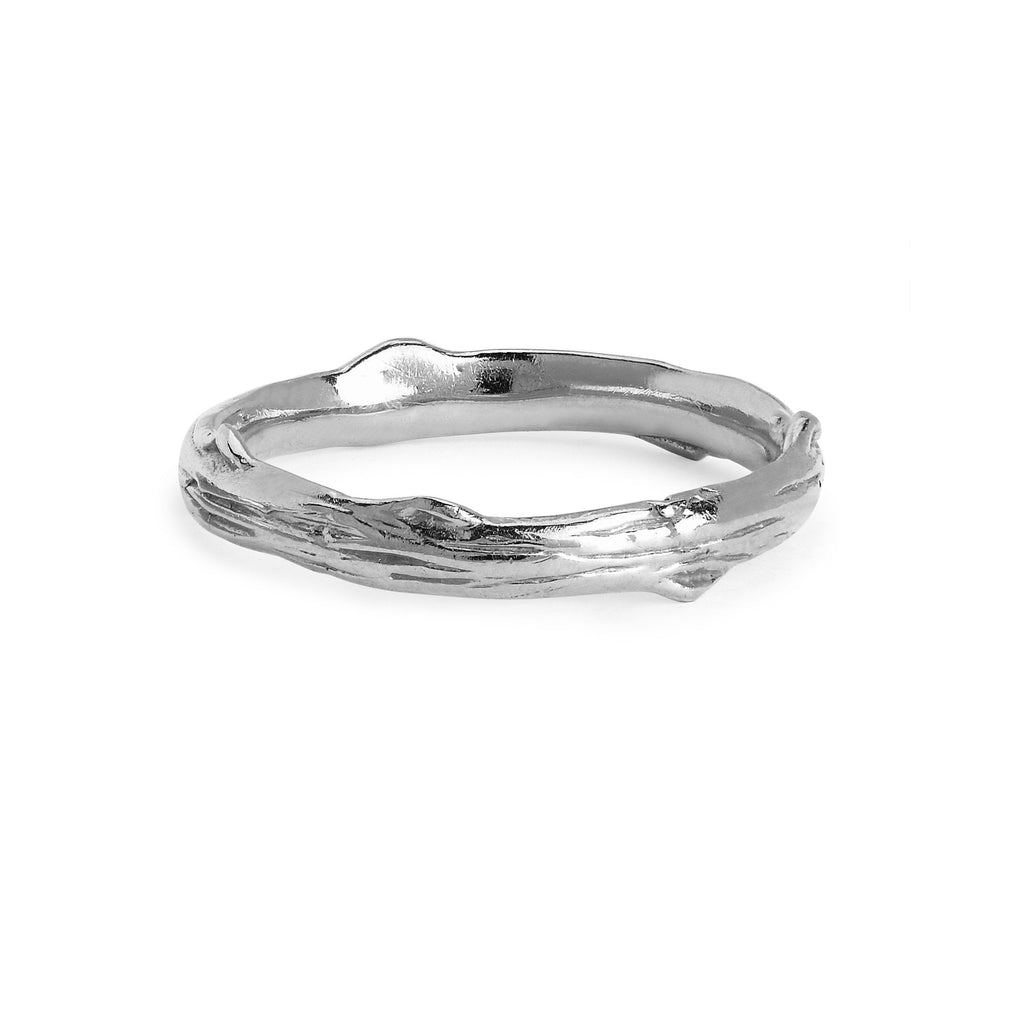 Rose Thorn Solid Band White Gold