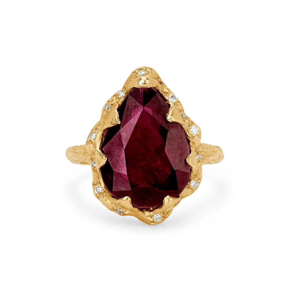 Queen Water Drop Ruby Ring with Sprinkled Diamonds Queen Water Drop Ruby Ring with Sprinkled Diamonds