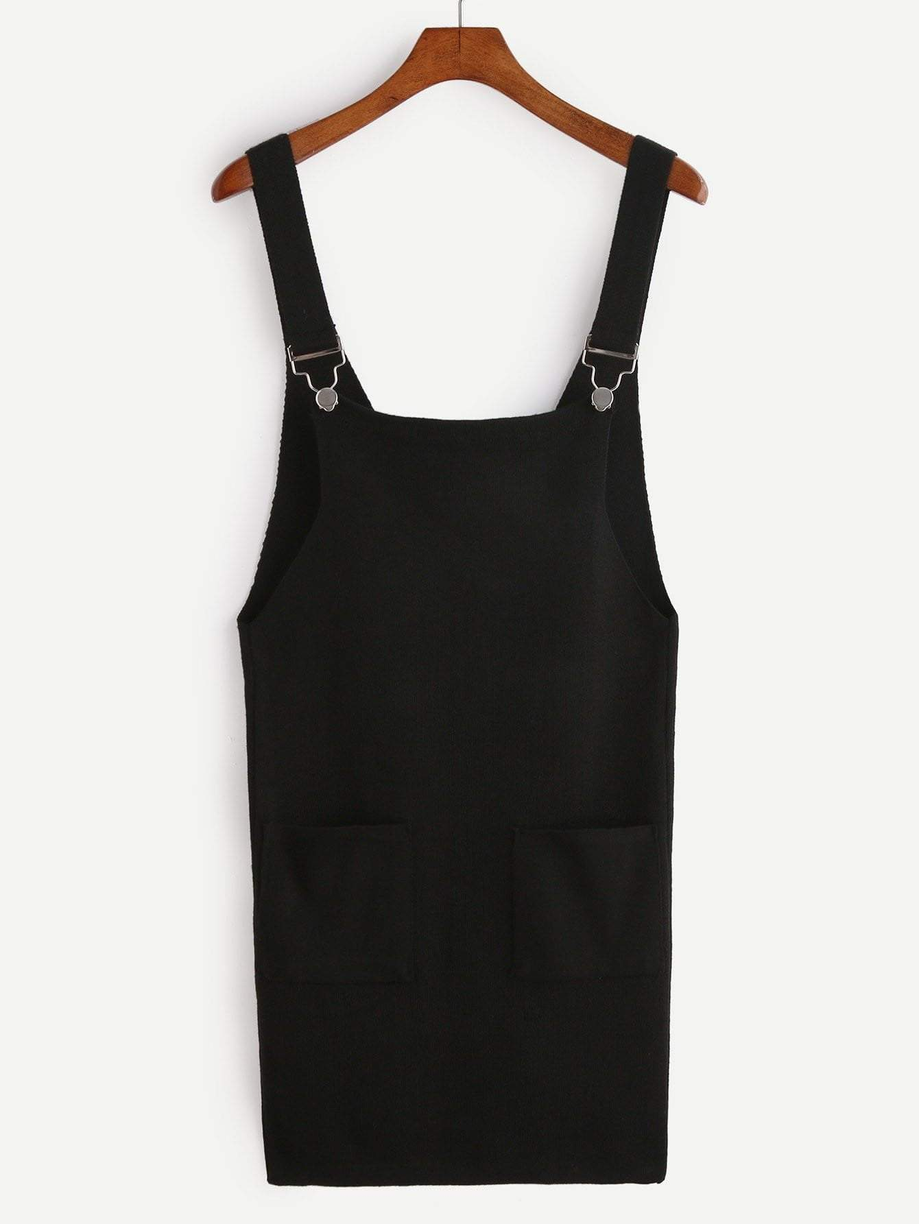 Black Knit Overall Dress With Pockets - Dresses - Zooomberg - Zoomberg