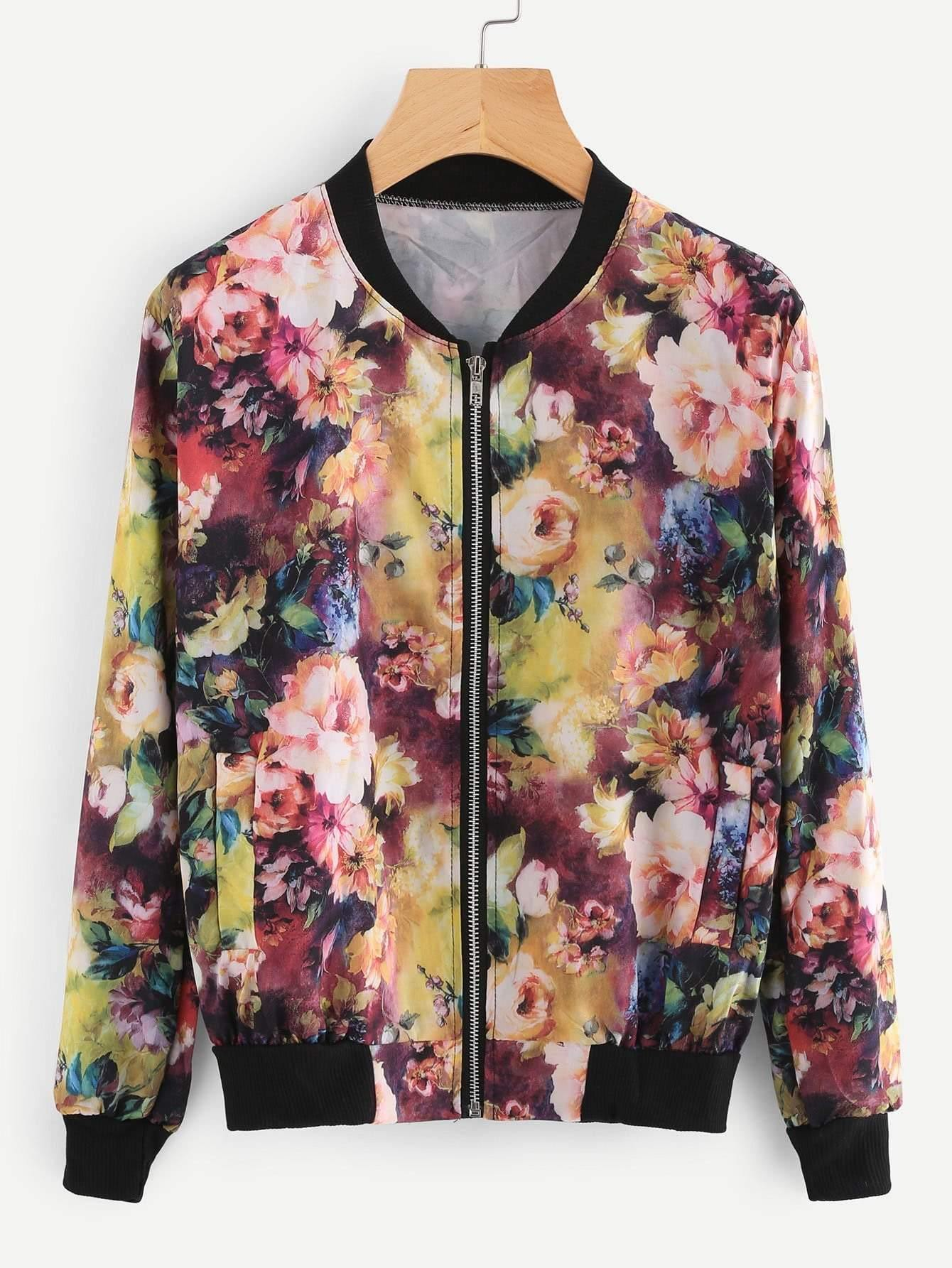 Contrast Ribbed Trim Florals Jacket - Jackets - Zooomberg - Zoomberg