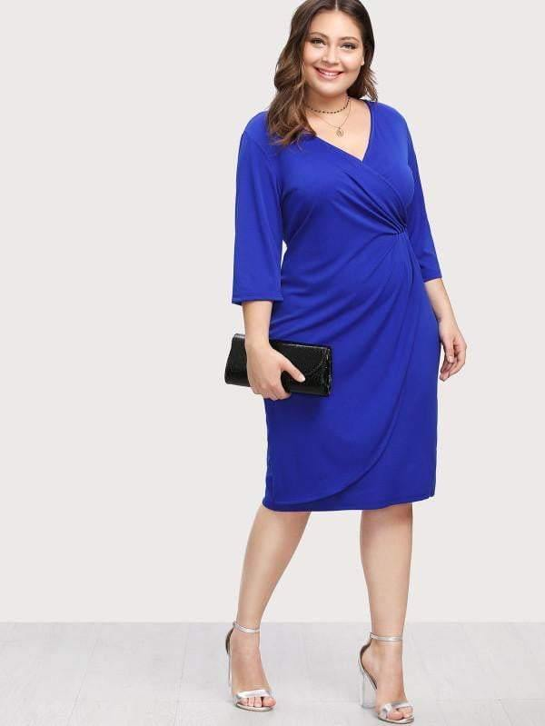 Surplice Wrap Dress - Dresses - Zooomberg - Zoomberg