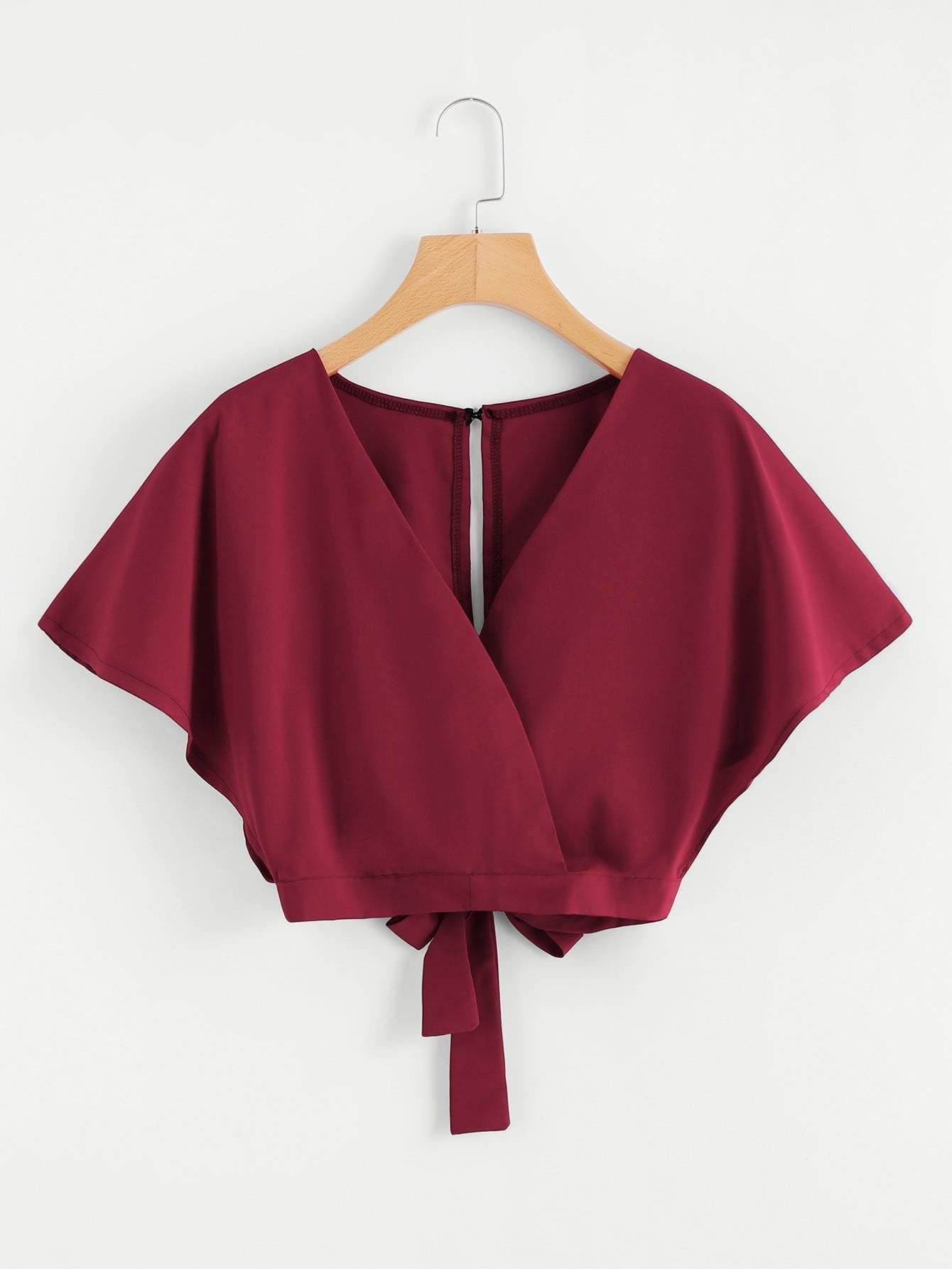 Burgundy Overlap Tie Back Crop Top