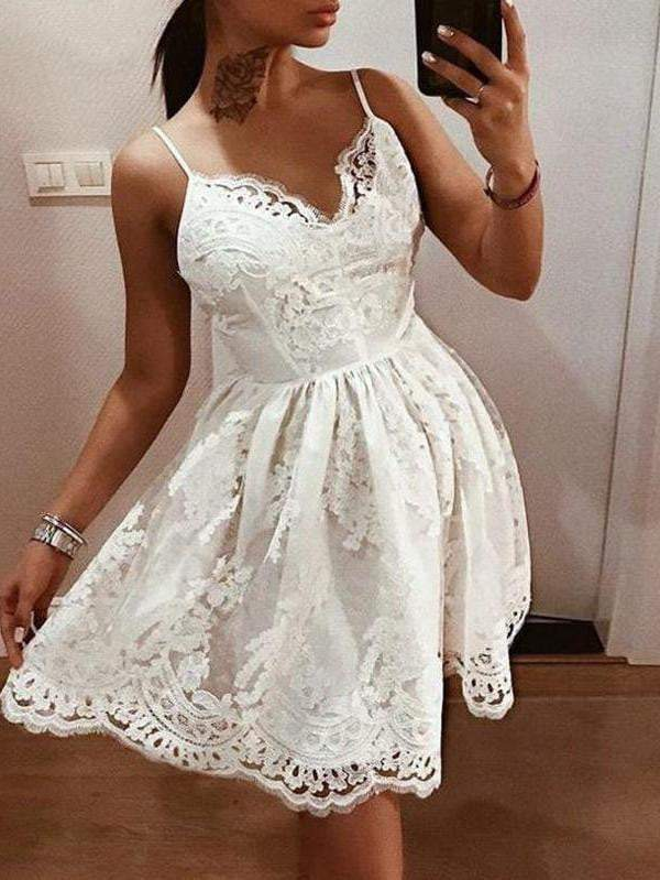 Elegant V-Neck Mesh Embroidery Spaghetti Strap Party Dress