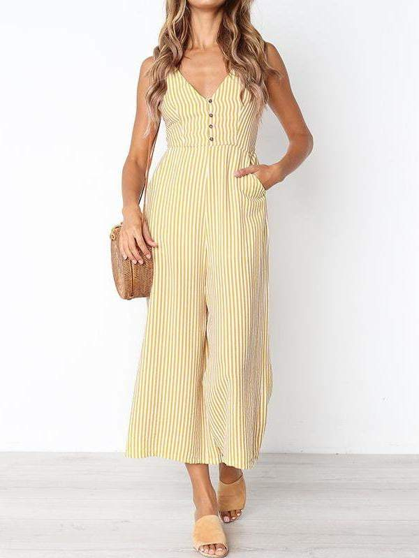 V-Neck Stripe Women Jumpsuit