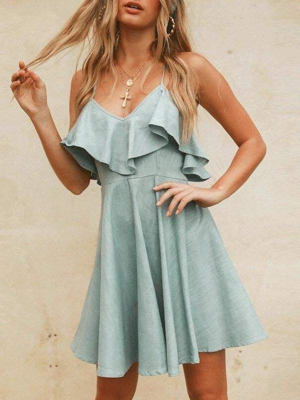 Elegant V-Neck Women Summer Dress