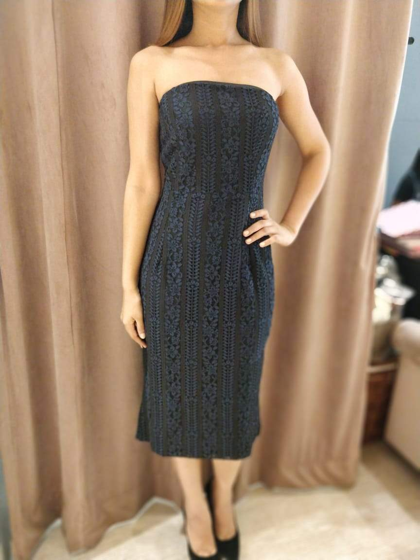 Midnight Blue Lace Tube Dress