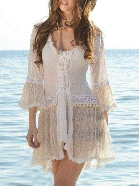 Beautiful Summer Wear Flare Sleeves Thin Fabric Short Dress