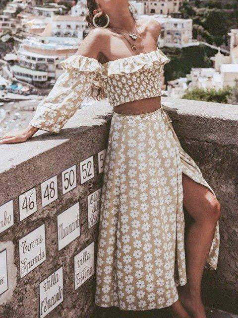 Twist Off Shoulder Floral Print Two Piece Set