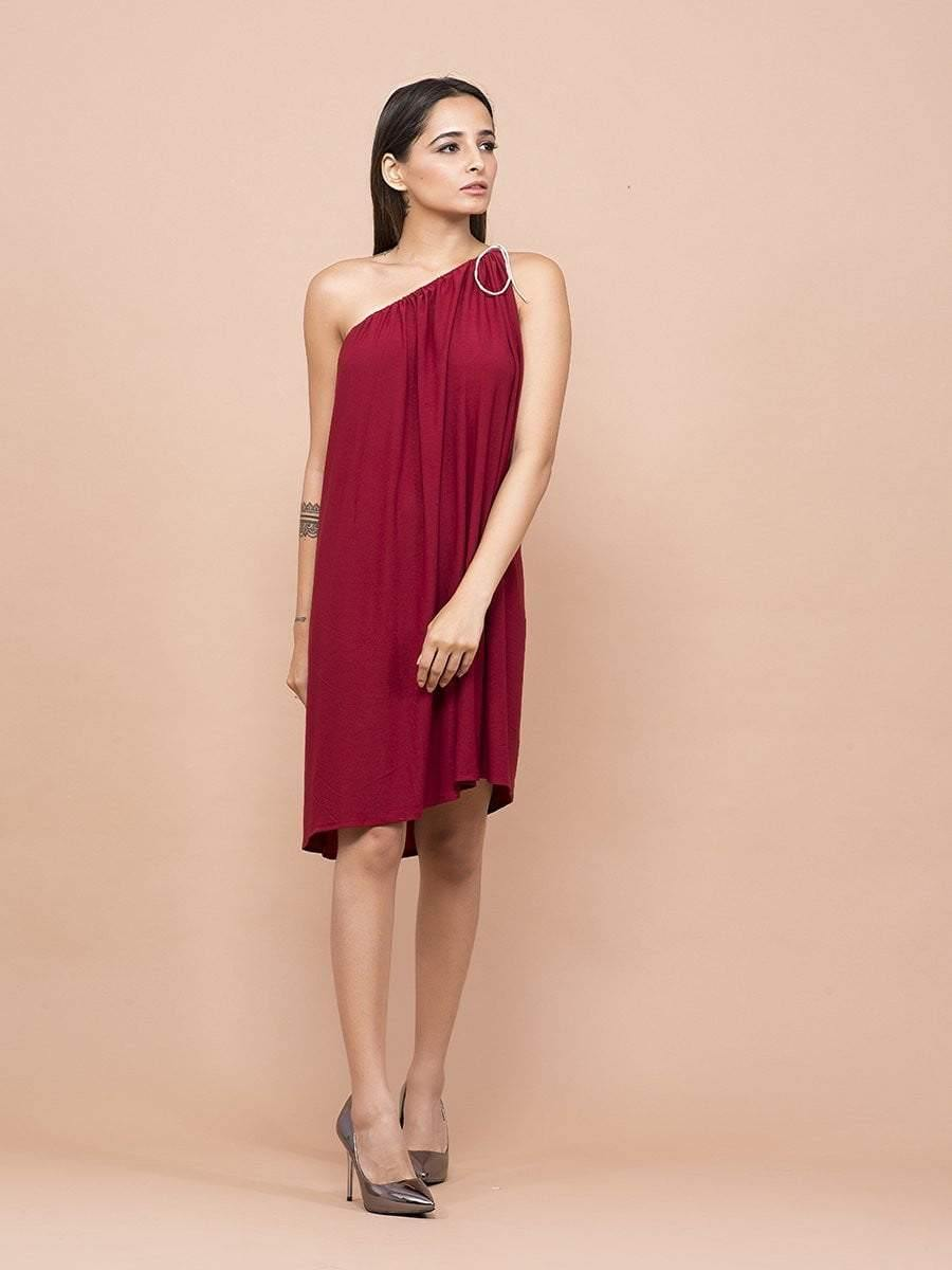 Burgundy One Shoulder Dress