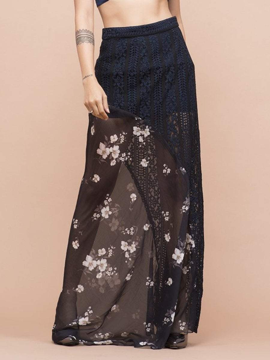 Floral Print Lace Skirt