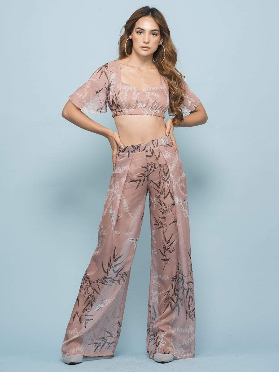 Old Rosewood Crop Top & Pants Co-ord