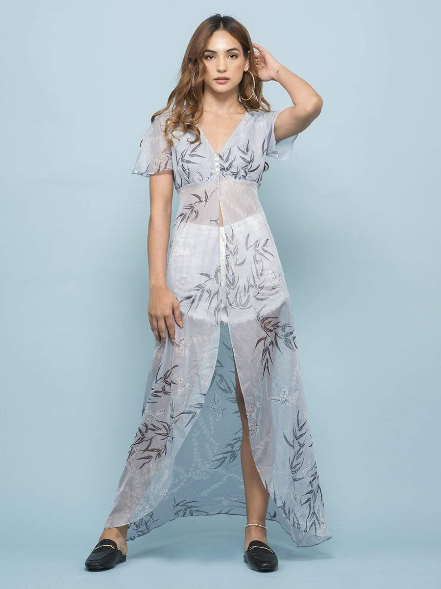 Toile Stone Blue Front Slit Top