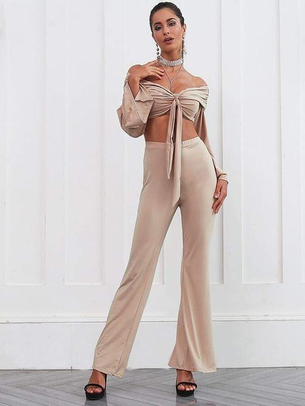 Two pieces flare sleeve jumpsuit