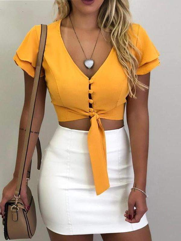 chiffonv-neck yellow ruffles sexy top