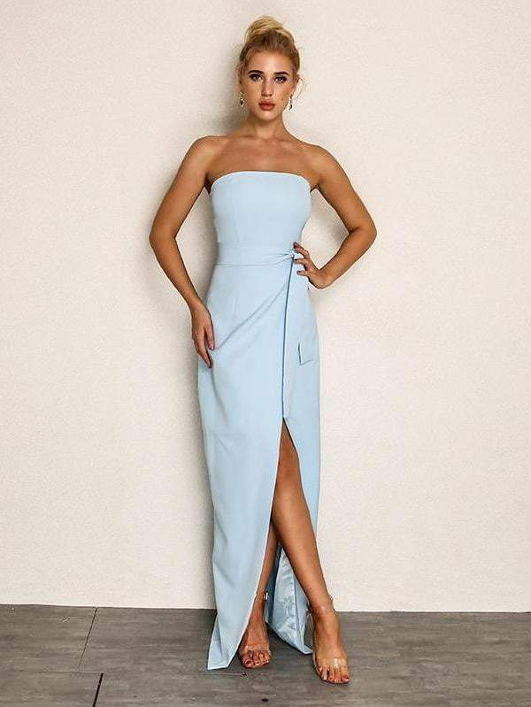 Backless Strapless Chiffon Blue Dress