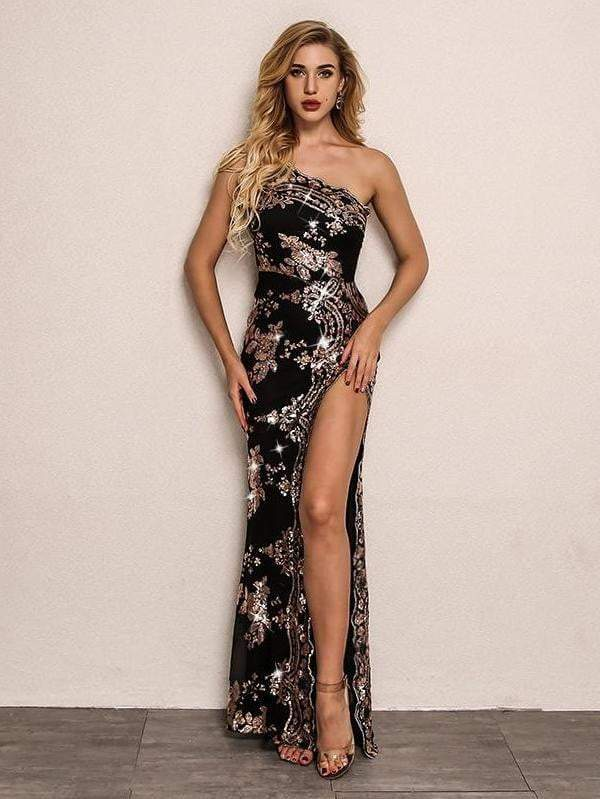 Black High Split Sexy Bodycon Sequin Dress
