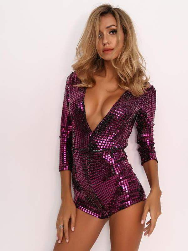 Rose Sexy Bodysuit Sequin Rompers