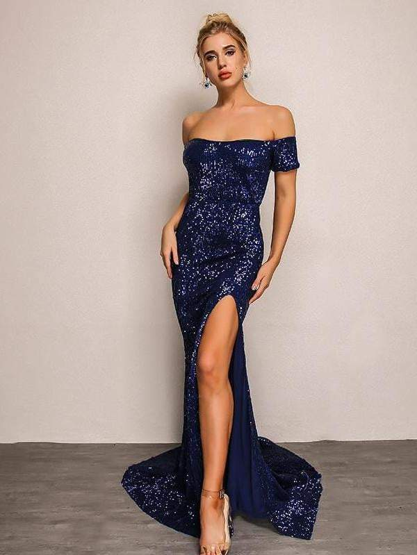 Blue Neck Split Maxi Vestido Longo Sequin Bodycon  Party Dress