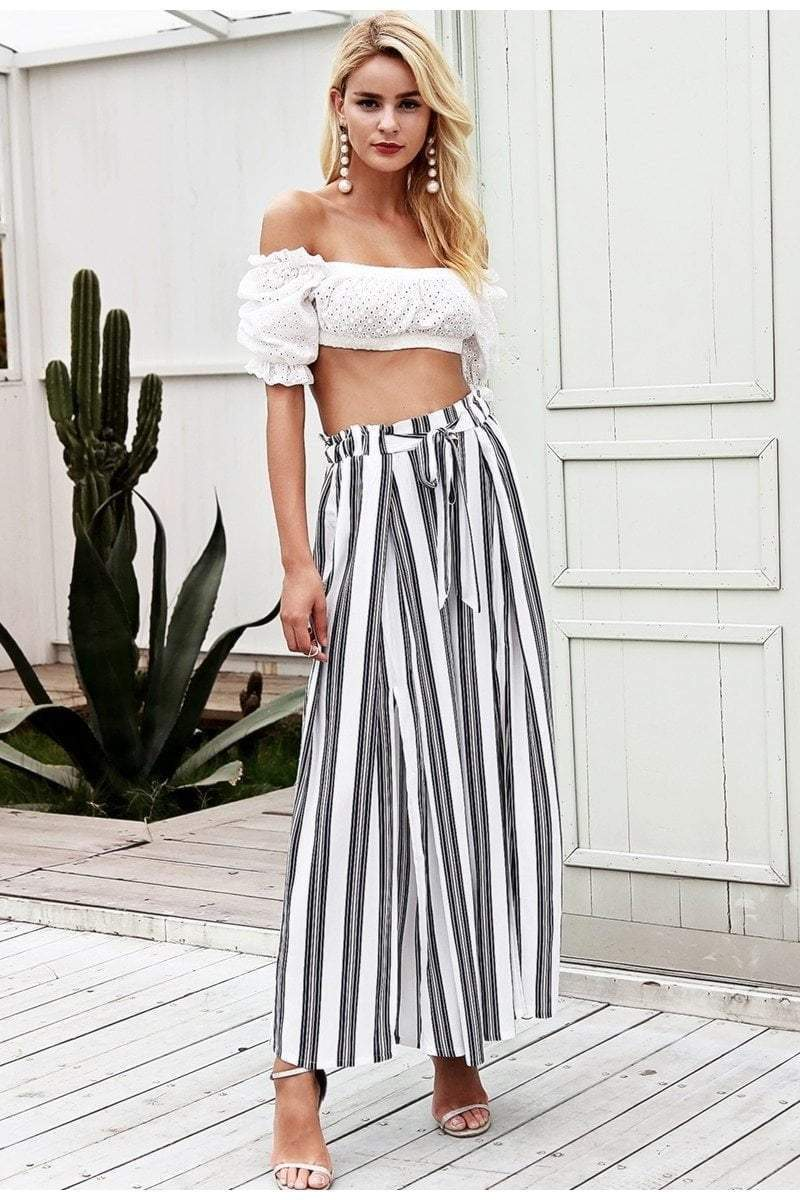 High Waist Loose Striped White Pants