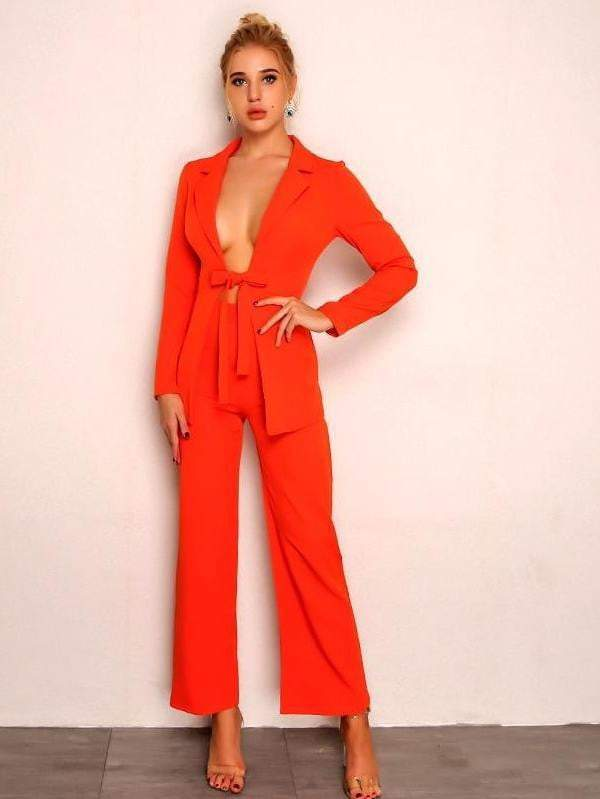 Orange Drawstring Bow Rompers Womens Jumpsuit