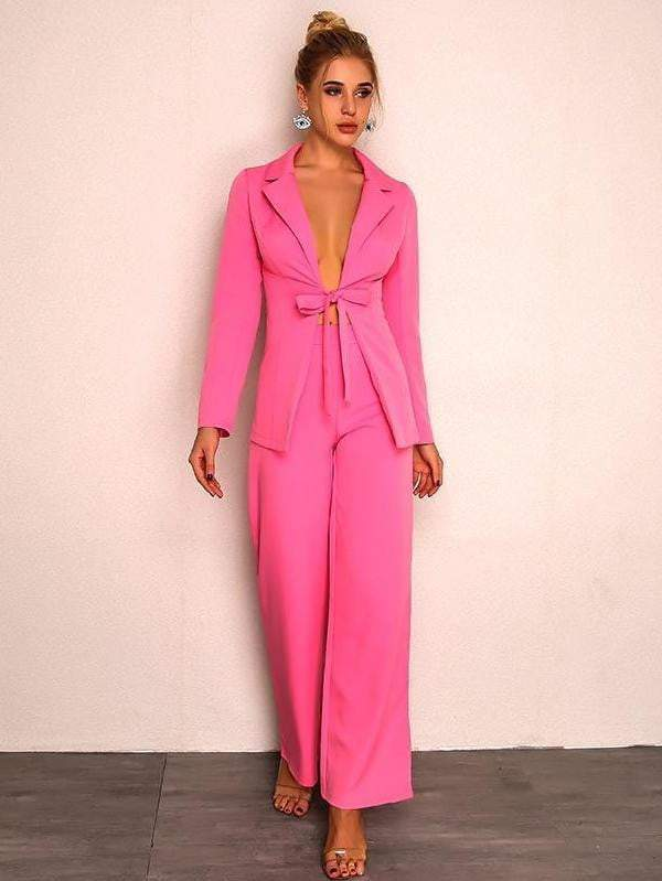 Pink Drawstring Bow Rompers Womens Jumpsuit