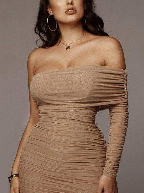 Draped Off Shoulder Strapless Long Dress