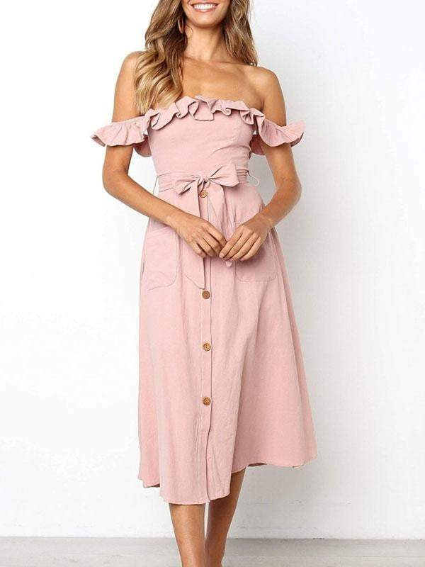 Ruffle Off Shoulder Women Dress