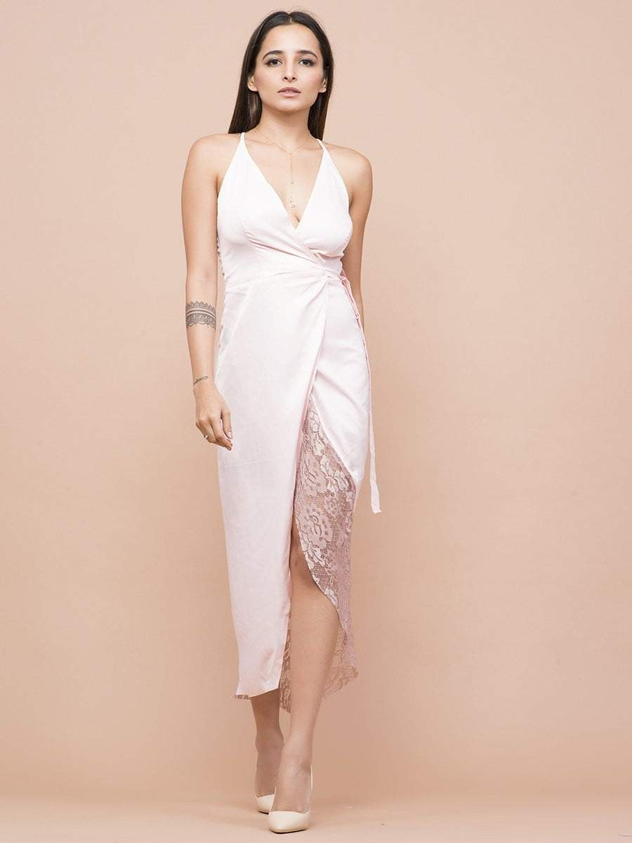 Pale Pink Wrap Tulip Dress