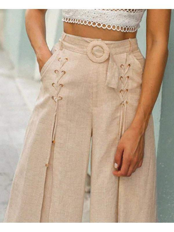 Summer Casual Loose Buckle Belt Trousers Pants