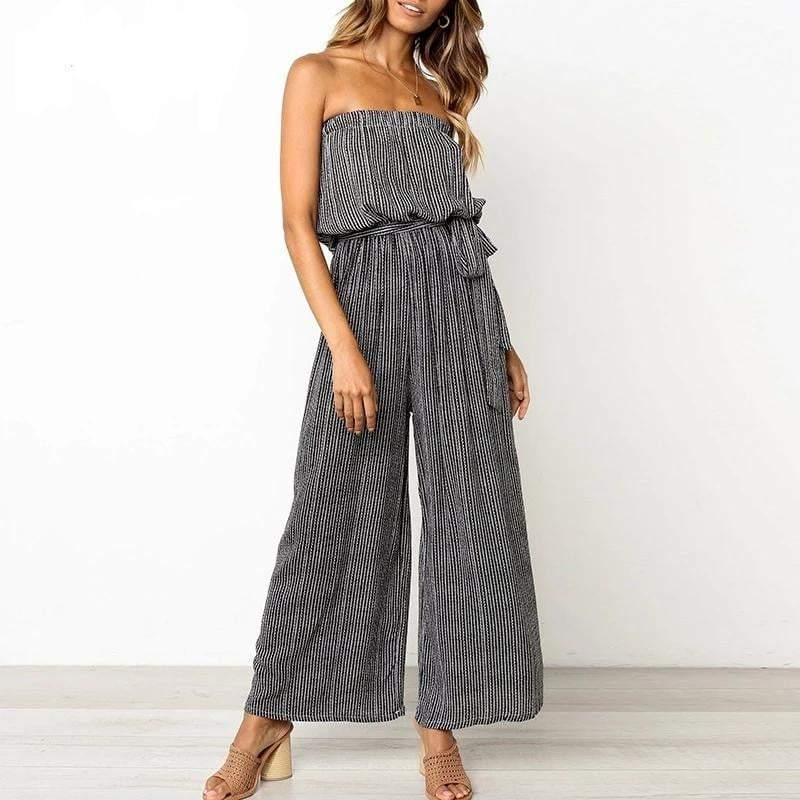 Off Shoulder Elegant Sashes Jumpsuit