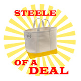 Small Natural Canvas Tote With Yellow Steeletex Bottom