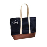 Navy Canvas & Brown Leather Tote