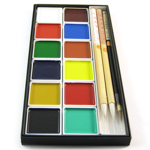 Zen Minded Japanese Coloured Ink Painting & Calligraphy Set