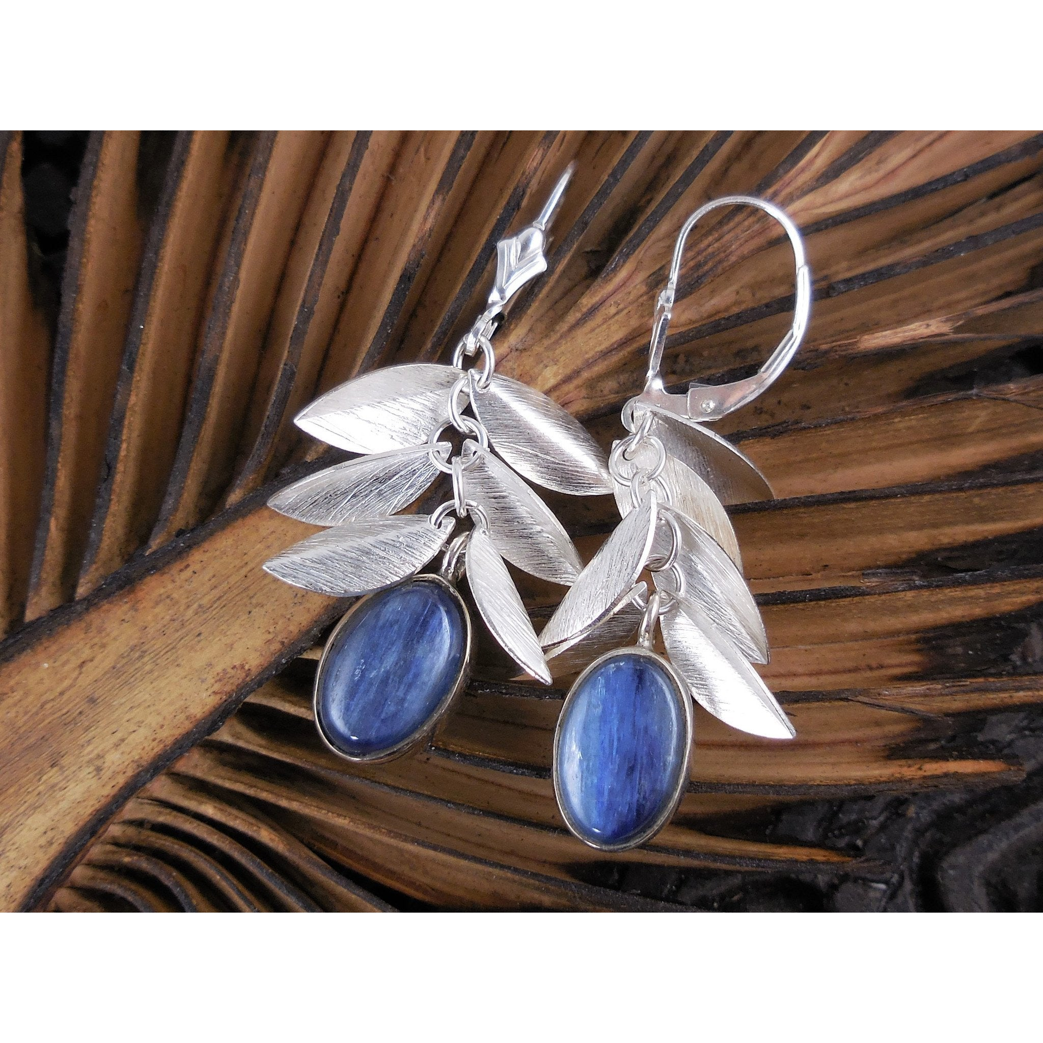 Kyanite Cabochon Sterling Silver Earrings