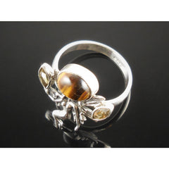 Tiger's Eye & Citrine Sterling Silver Fairy Ring - Size 8.5