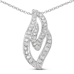 0.22 Carat Genuine White Diamond .925 Sterling Silver Pendant/Necklace