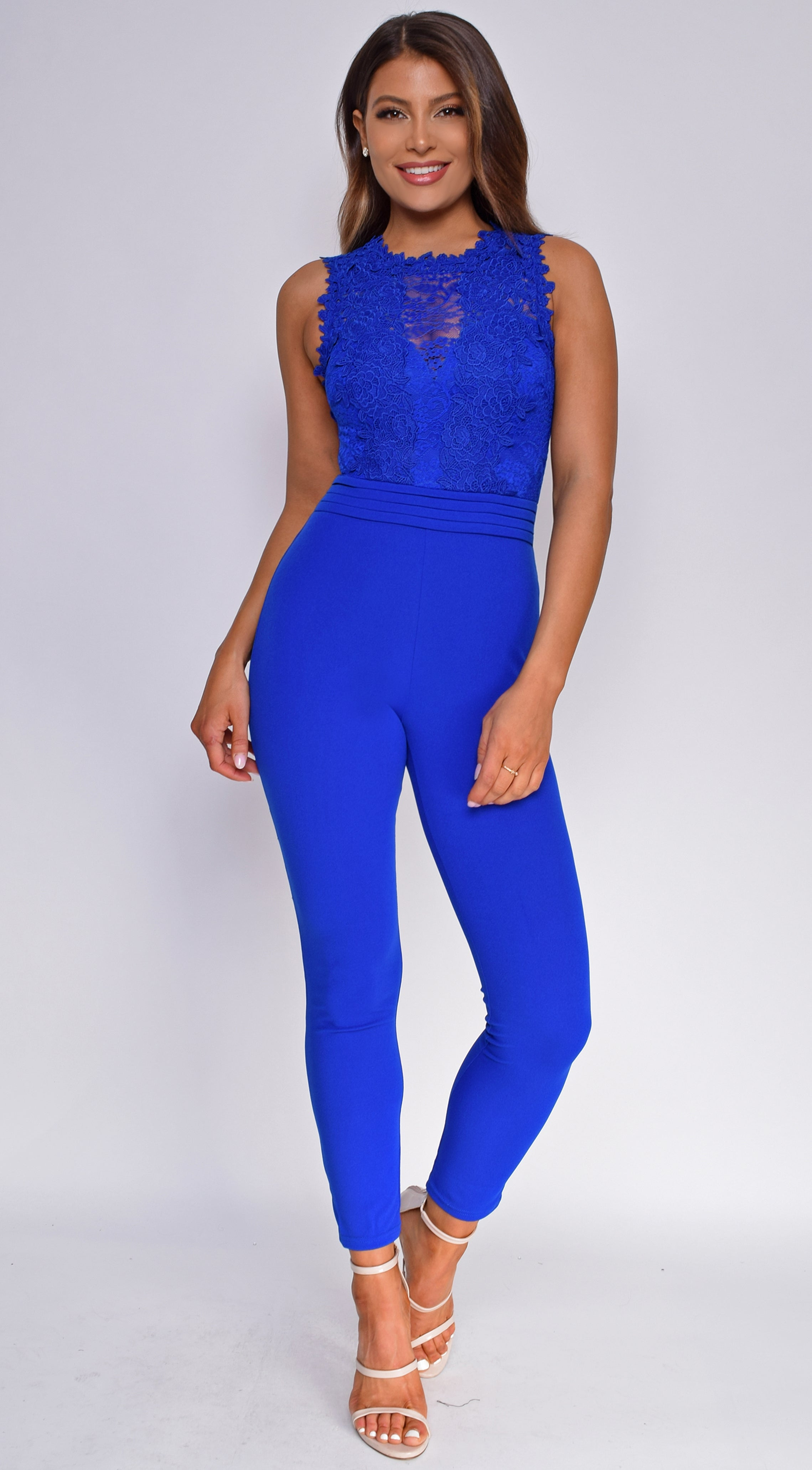 Laraine Royal Blue Lace Jumpsuit