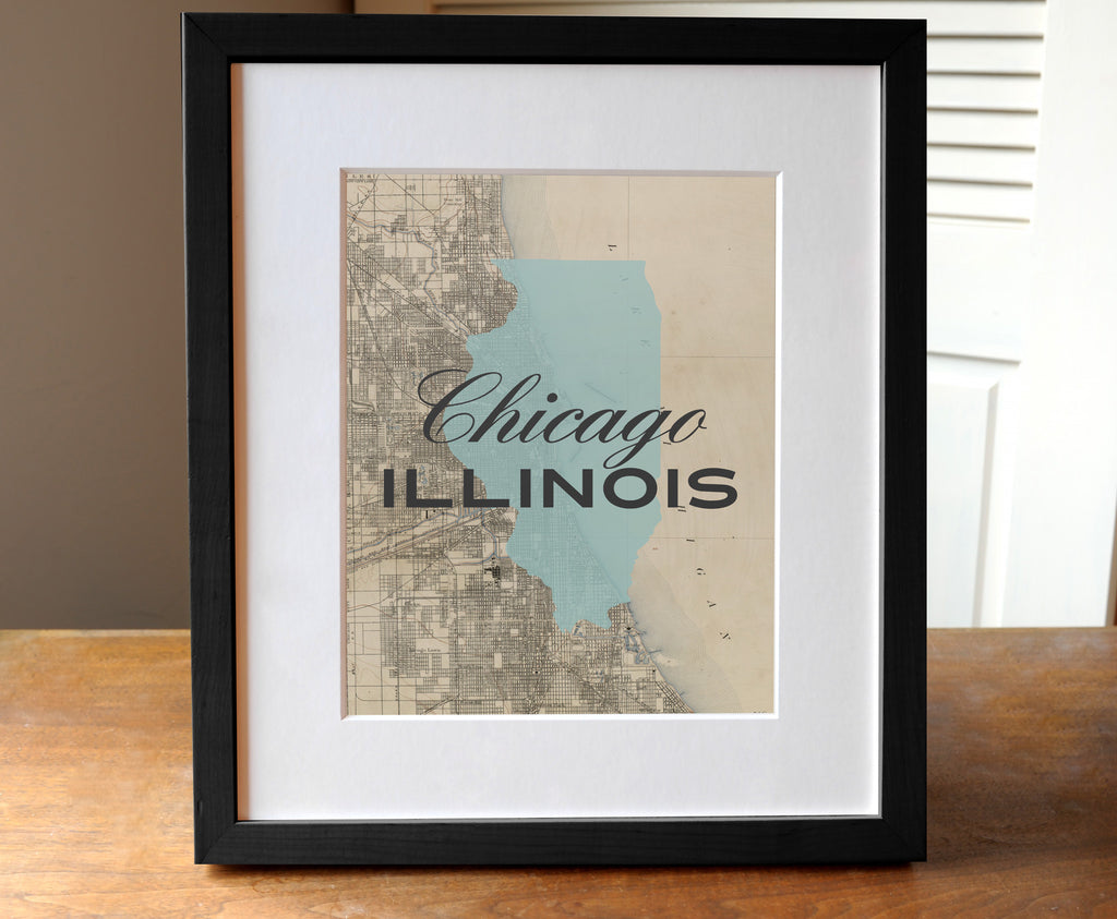 Chicago, Illinois - Background State Map Print