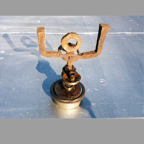"""Forged Figurative Gear"" Candlestick"
