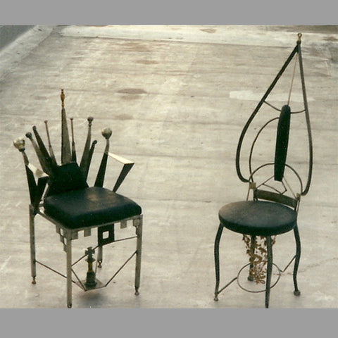 """King and Queen"" Chess Chair Set"