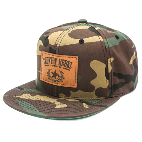 Country Rebel Leather Patch Camo-Snapback
