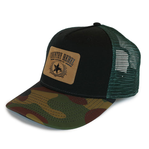 Country Rebel Snapback Black/Green - Leather Patch