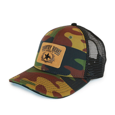Country Rebel Snapback Camo/Black - Leather Patch